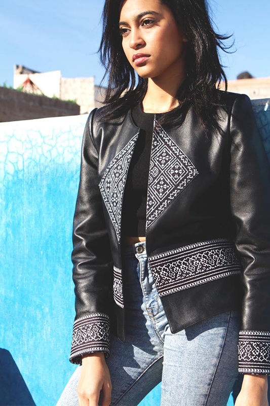 Emma's Boho Chic Leather and Moroccan fabric Jacket