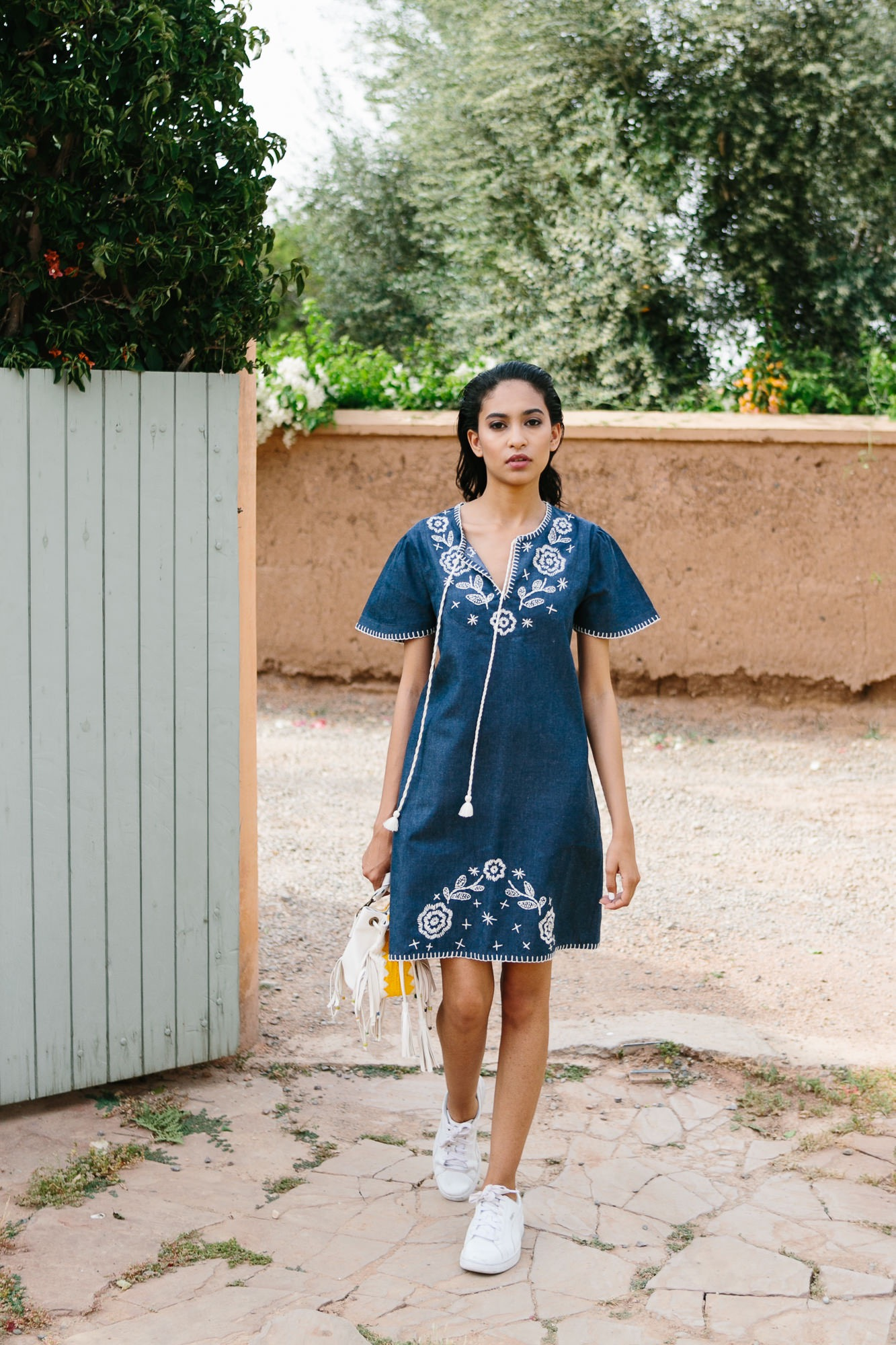 Marguerite Denim Hand Embroided Dress