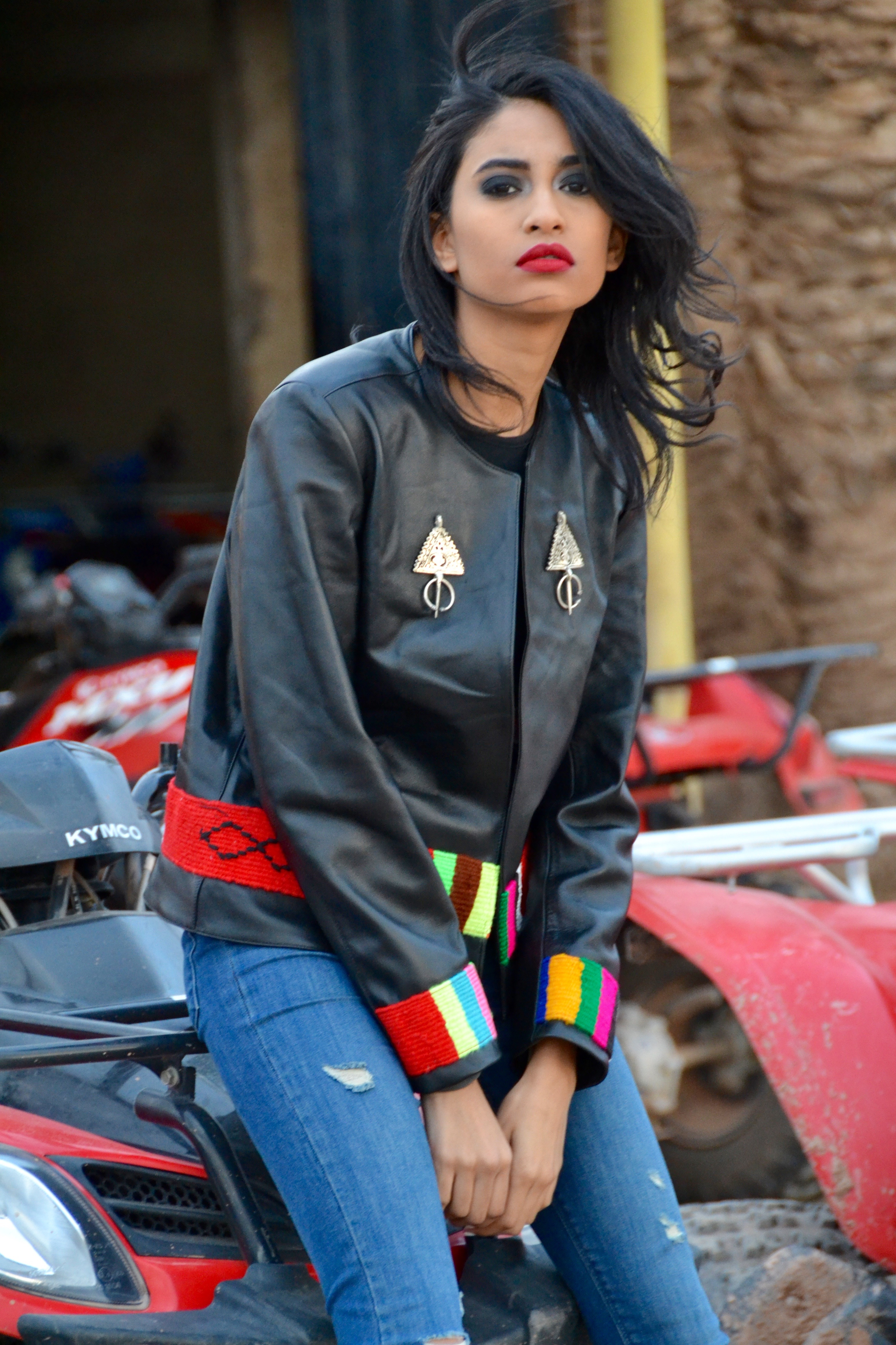 Selma's Leather Kilim and Vintage Berber Jewellery Moroccan Jacket
