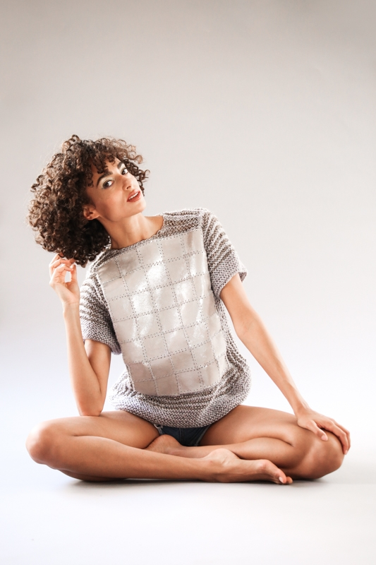 The Nezha Unique Hand Knitted Leather Wool Jumper Silver