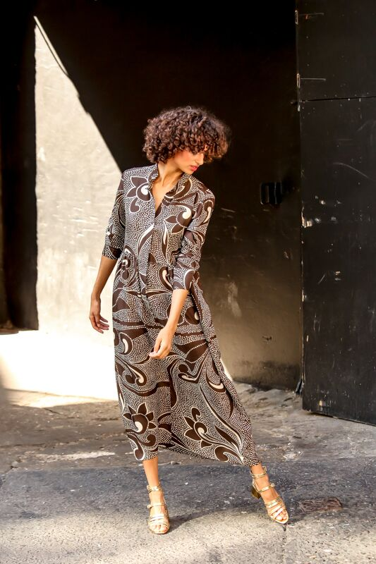 Delphine Silk Dress Moroccan Style Brown Print Hanout Boutique