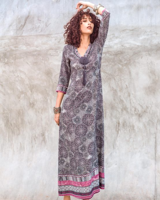 Hanane Tassel Maxi Dress Coton Grey Print