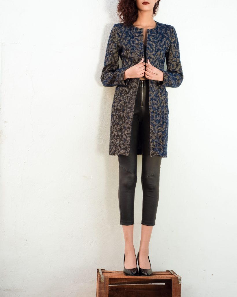 Widad Wool Brocarde Coat Blue Hanout Boutique