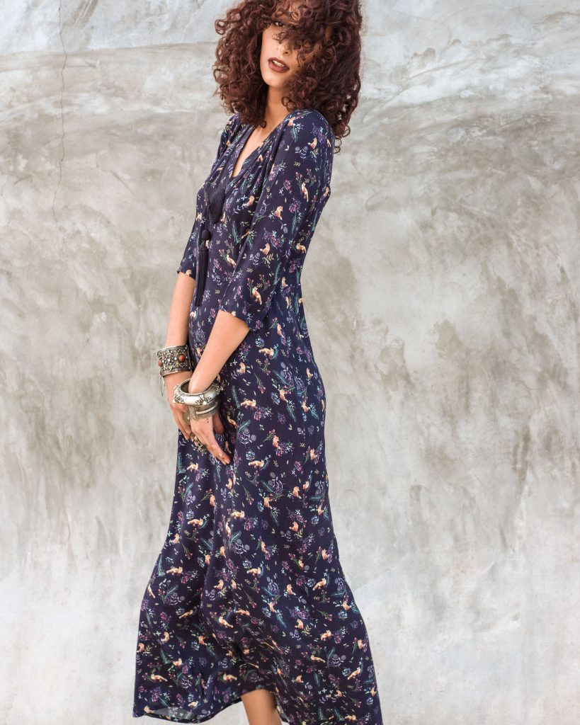 Hanane Tassel Maxi Dress Blue Print