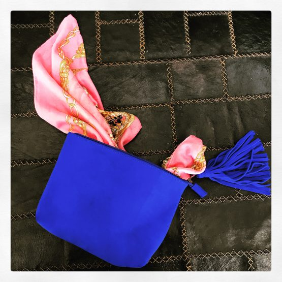 Yves Klein Blue Leather Clutch By Hanout Boutique