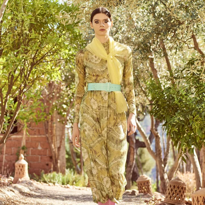 Delphine Dress Silk Chiffon Green Print