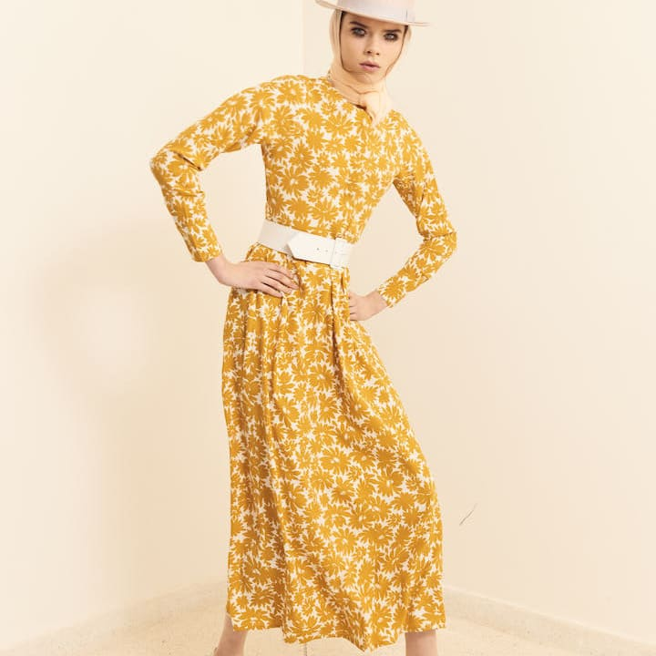 Dress White and Yellow floral Print - Women - Summer dress