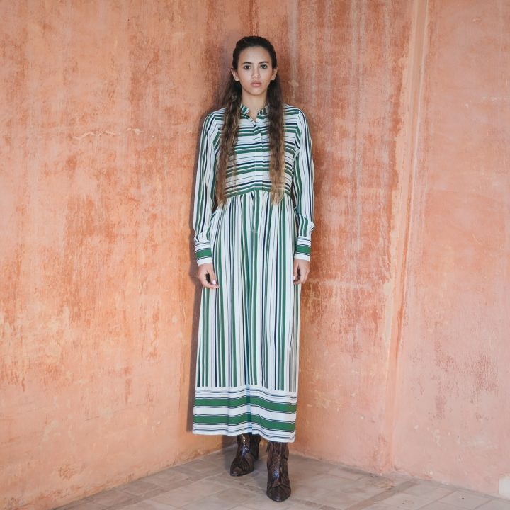 Delphine Dress Green Stripes
